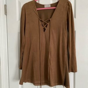 Camel Suede Tunic Dress